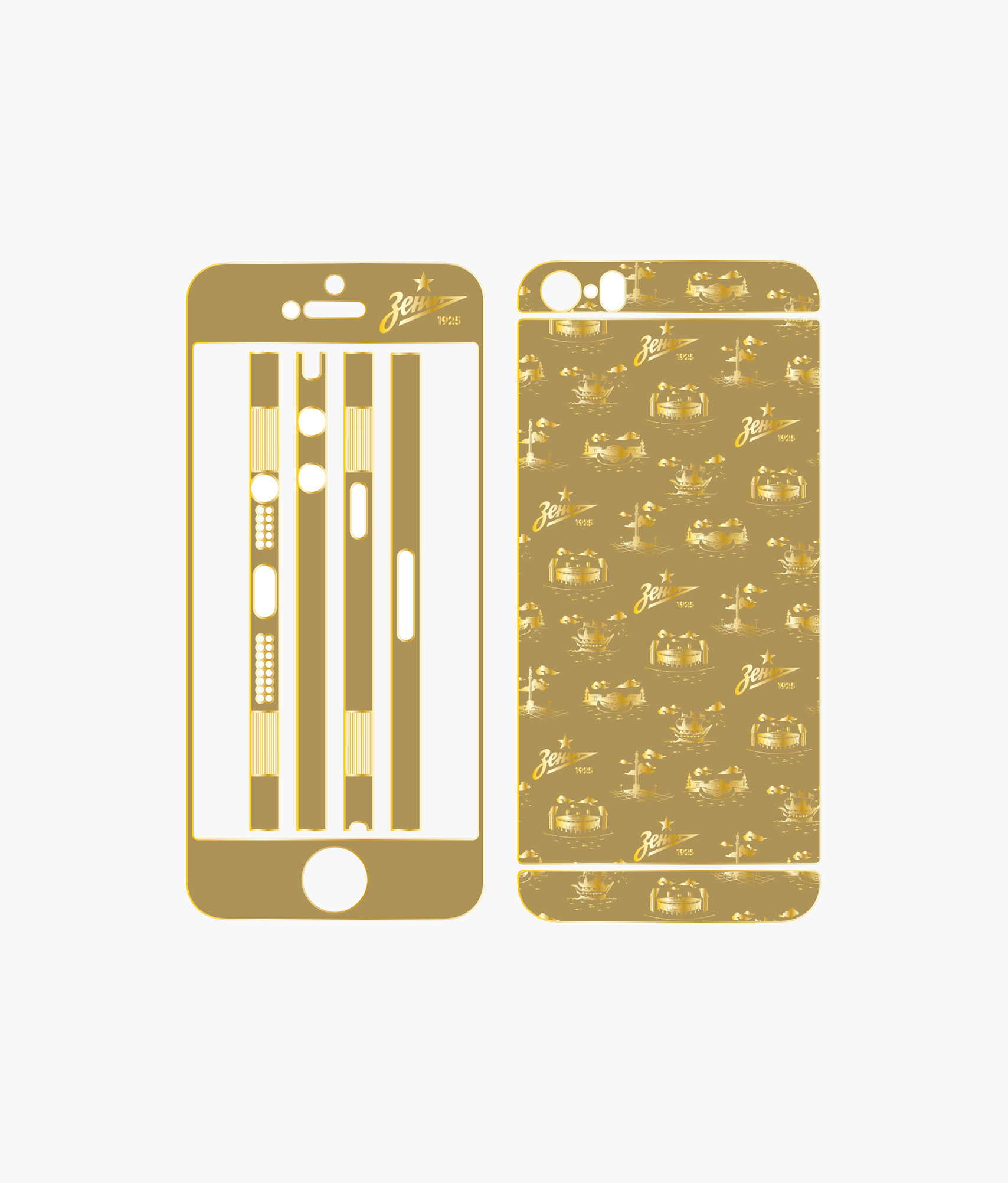 Фото - Золотая наклейка на Iphone 5S «Город» Зенит украшение