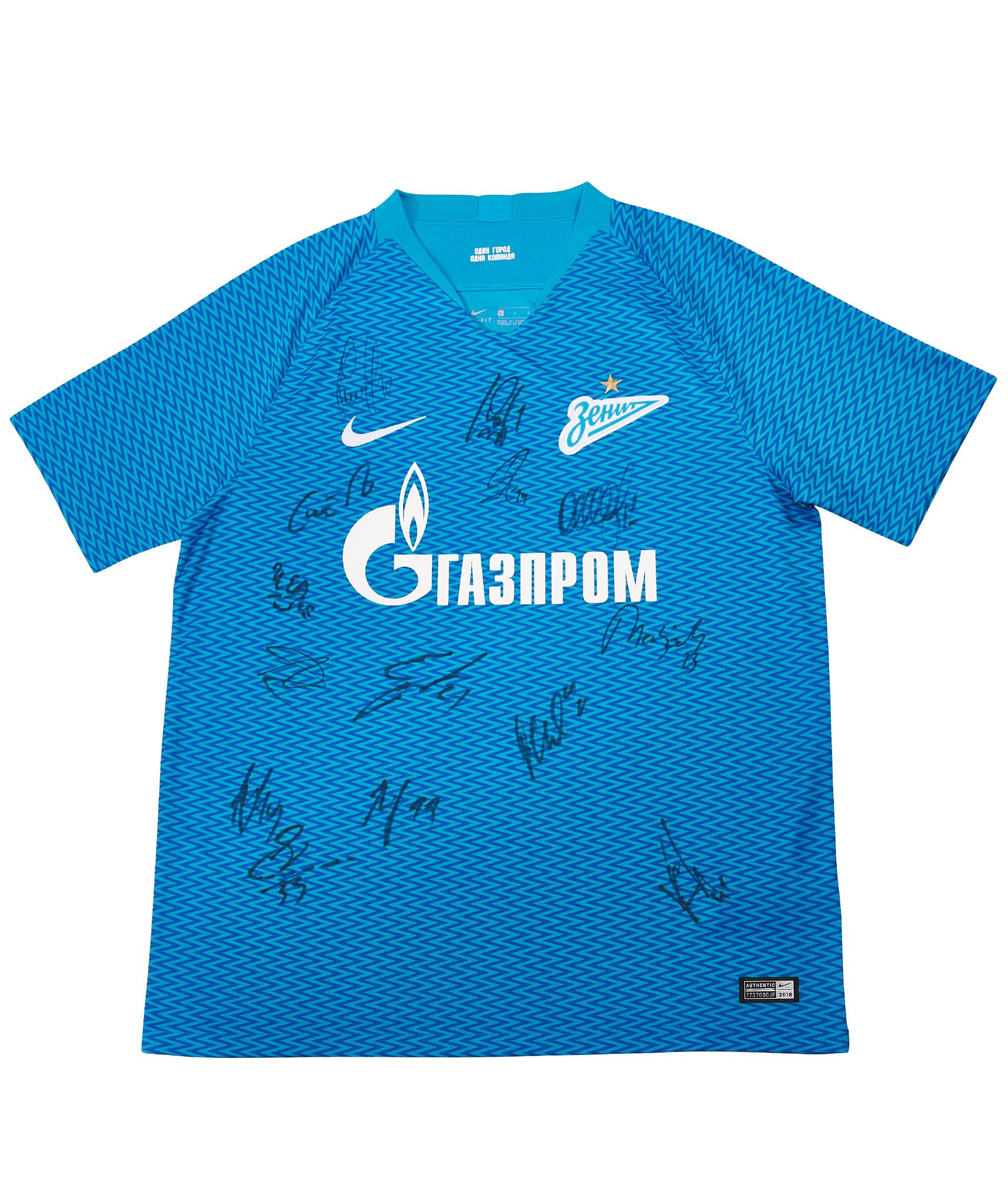 цена Домашняя футболка сезона 2018/19 с автографами Зенит